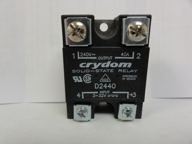 Crydom Relay D2440 Relay, Solid State, Panel Mount, 40 Amps, 3-32 Vdc
