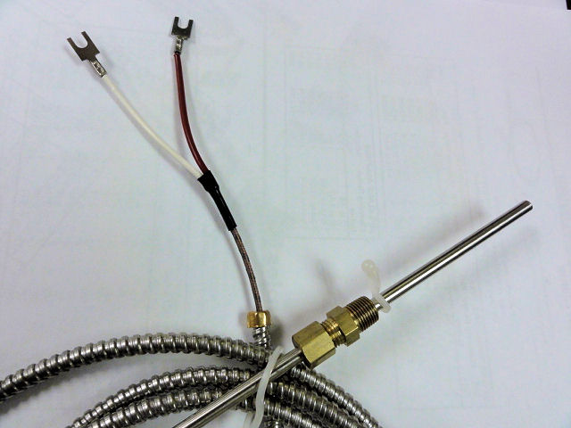 Thermocouple-type J, 72 In Length Fiberglass Stainless Steel Hose Leads BPJ6072
